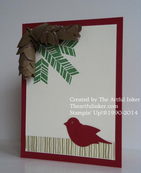 Card with Spiral Flower Die Pine Cones