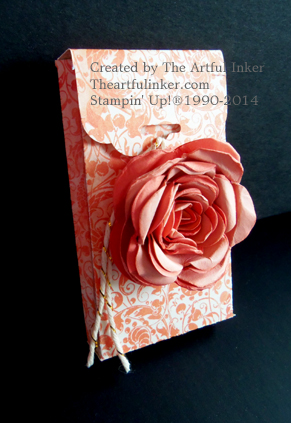 Two tone Rose on Designer Paper Gusseted Box
