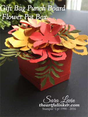 Gift Bag Punch Board Flower Pot Box Tutorial from theartfulinker.com