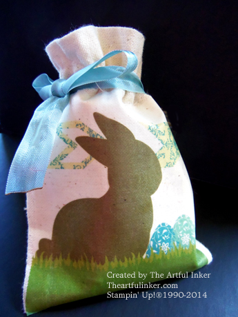 Muslin Bag Bunny Favor by theartfulinker.com