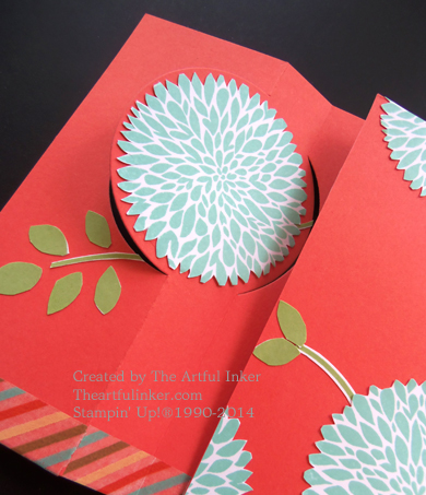 Betsy's Blossoms Circle Card, first flap open from theartfulinker.com