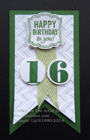 Label Love birthday pin for #stampingsunday from theartfulinker.com