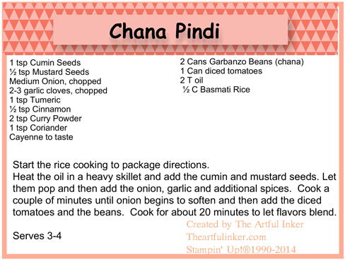 Chana Pindi Recipe Card from theartfulinker.com