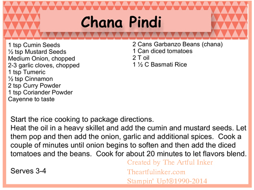 Chana Pindi Recipe Card from theartfulinker.com