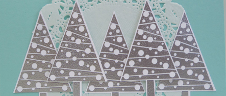Silver Embossed Festival of Trees from theartfulinker.com