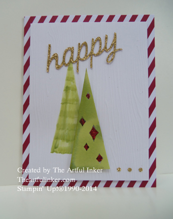 Watercolor Winter Happy Tree card from theartfulinker.com
