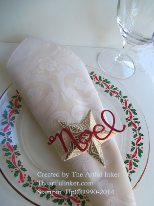 Noel Napkin Ring from theartfulinker.com