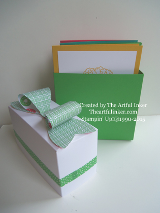 A2 card box from theartfulinker.com - open.  It's made with the Gift Bag Punch Board