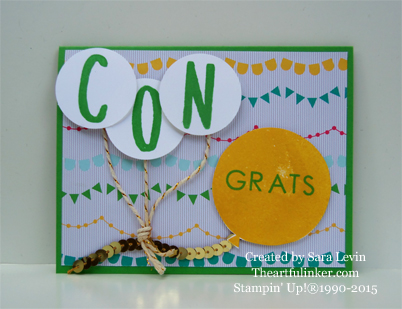 Congrats card using Layered Letters, Back to Basics, Celebrate Today and Cherry on Top designer paper - from theartfulinker.com