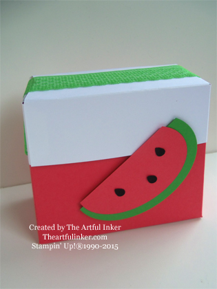 Watermelon Box from theartfulinker.com - made using the Gift Bag Punch Board