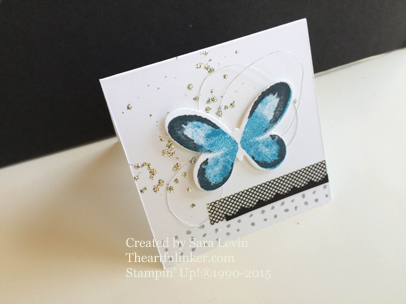 Watercolor Wings card with Splattered Glitter background from theartfulinker.com