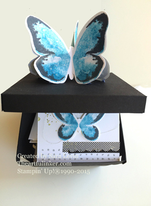 Watercolor Wings Blue Morpho Box filled with matching love notes from theartfulinker.com