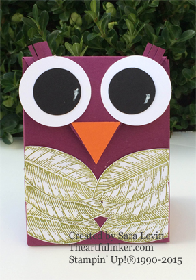 Gift Bag Punch Board Owl for Creation Station using Vintage Leaves - from theartfulinker.com