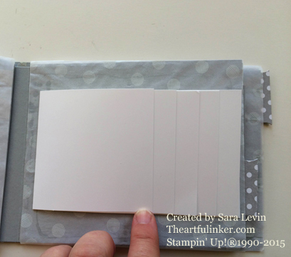 Sketched Dots mini album for Creation Station - waterfall page - from theartfulinker.com