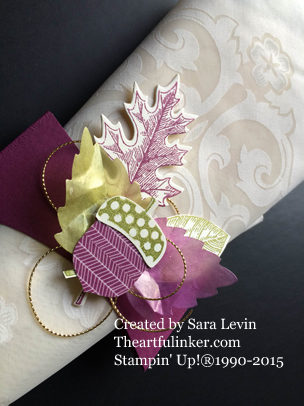 Vintage Leaves Napkin Ring for Creation Station - close up - from theartfulinker.com