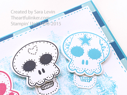Howl-O-Ween Treat for Dia de los Muertos card detail from theartfulinker.com