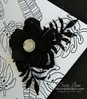 Botanical Blooms bundle black and white card - flower detail - from theartfulinker.com