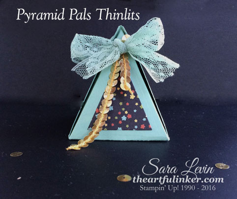 Pyramid Pals Thinlits Box with Botanical Garden designer paper from theartfulinker.com