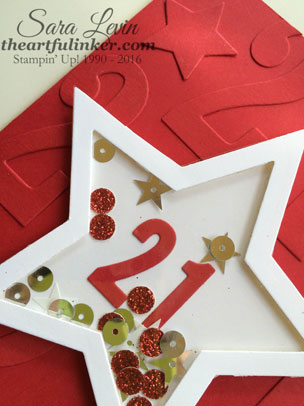 Large Numbers 21st Birthday Shaker card - star shaker detail - from theartfulinker.com