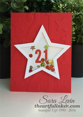 Large Numbers Framelits 21st Birthday shaker card from theartfulinker.com
