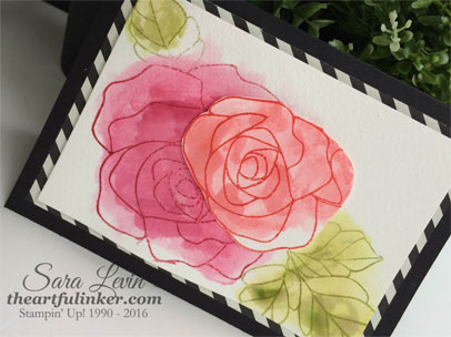 Rose Wonder Watercolor card - angled view - from theartfulinker.com
