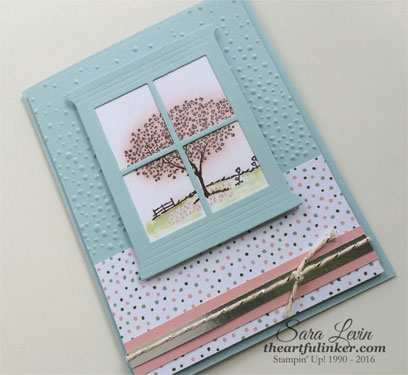 Happy Home Spring Tree scene with pink blossom snow - from theartfulinker.com