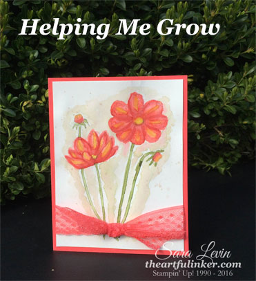 Helping Me Grow no line watercolor card from theartfulinker.com
