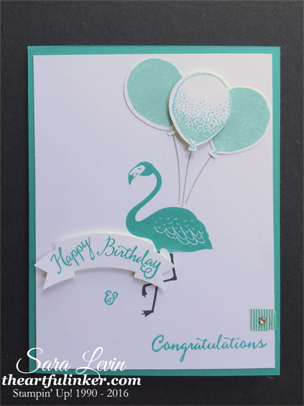 Pop of Paradise with Balloon Celebration - birthday graduation card - from theartfulinker.com