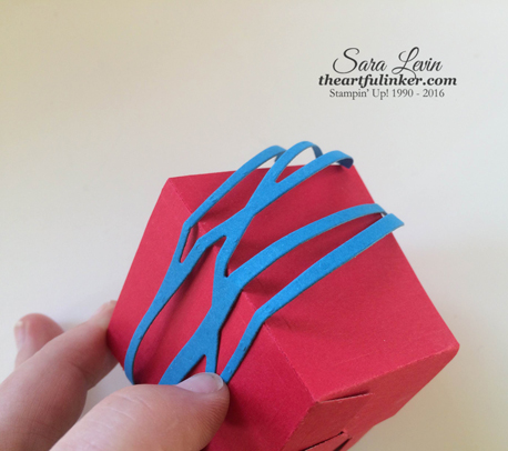 Adding Swirly Scribbles piece to the Popcorn Box Cupcake Holder
