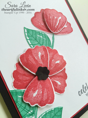 Bunch of Blossoms poppy birthday card - detail - from theartfulinker.com