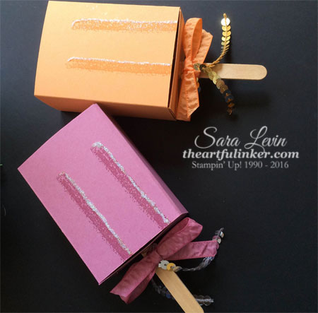 Popsicle Boxes - stamped and with ribbon - from theartfulinker.com