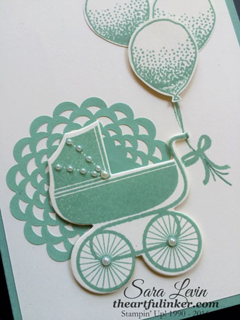 Something for Baby with Balloon Celebration baby card - detail - theartfulinker.com