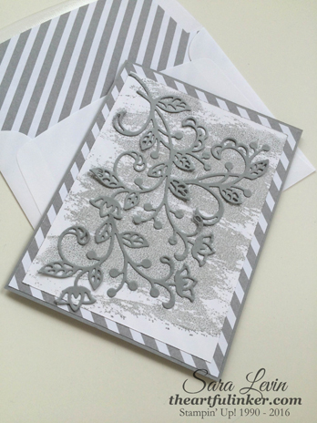 Flourish Thinlits Sympathy card in Smoky Slate - angled view - from theartfulinker.com