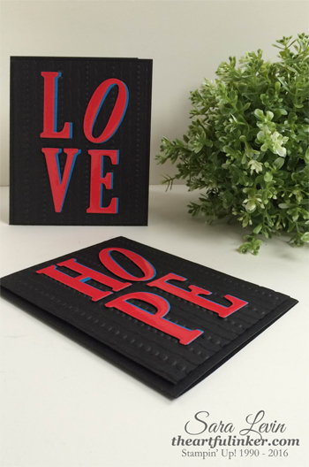 Love and Hope cards from theartfulinker.com inspired by Robert Indiana sculptures