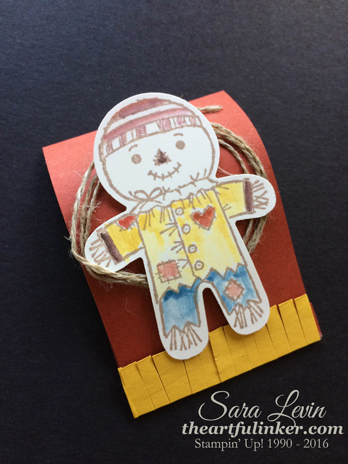 Cookie Cutter Halloween Matchbook Treat - Scarecrow - for 12 Days of Halloween from theartfulinker.com