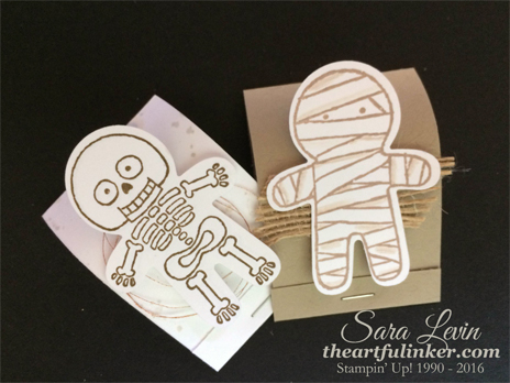 Cookie Cutter Halloween Matchbook Treats with skeleton and mummy for 12 Days of Halloween - from theartfulinker.com