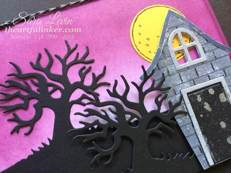Sweet Home and Spooky Fun stepped up card - detail view - from theartfulinker.com