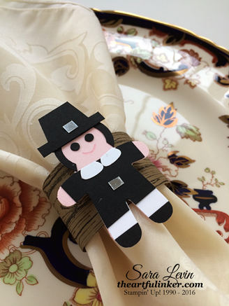 Cookie Cutter Builder Punch Pilgrim Napkin Ring - detail - theartfulinker.com