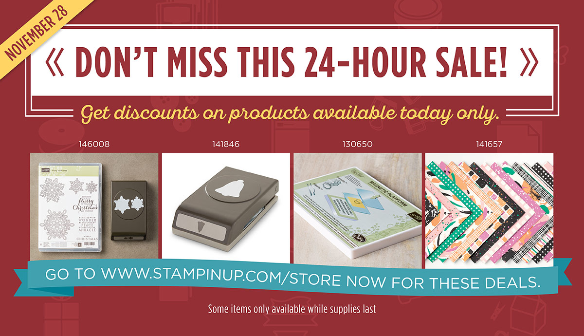 Online Extravaganza Flash Sale Products November 28 http://stampinup.com/ECWeb/default.aspx?dbwsdemoid=2059166