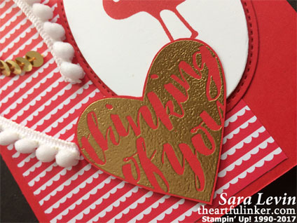 Pop of Paradise Valentines card - embossed sentiment detail - from theartfulinker.com
