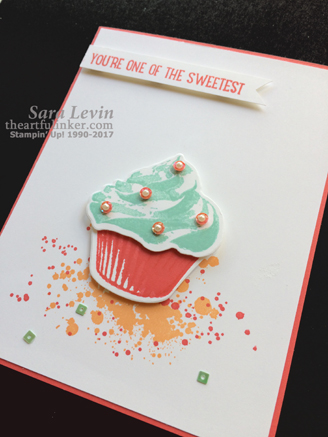 Sweet Cupcake Clean and Simple card - angled view - from theartfulinker.com