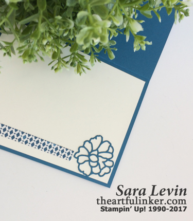 So Detailed Thinlits card with Moroccan designer paper - inside - from theartfulinker.com