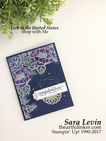 Sara Levin | theartfulinker Click on the picture for more of Sara's designs. Birthday Blooms Wedding Card for Kylie Bertucci's International Blog Highlights from theartfulinker.com cardmaking, papercraft, rubberstamps, handmade cards, stampinup, saralevin, theartfulinker