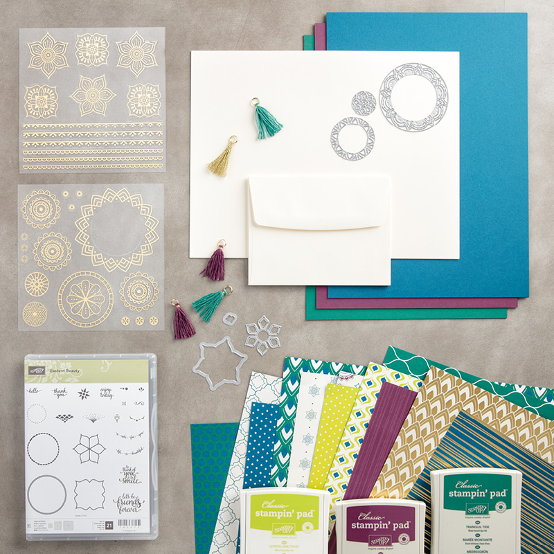 Eastern Palace Suite Premier Bundle 147207. Get it at https://www.stampinup.com/ecweb/default.aspx?dbwsdemoid=2059166 eastern medallions, eastern palace, foil stickers, incolors, stampin up, saralevin, theartfulinker, cards, cardmaking, handmade,rubberstamps