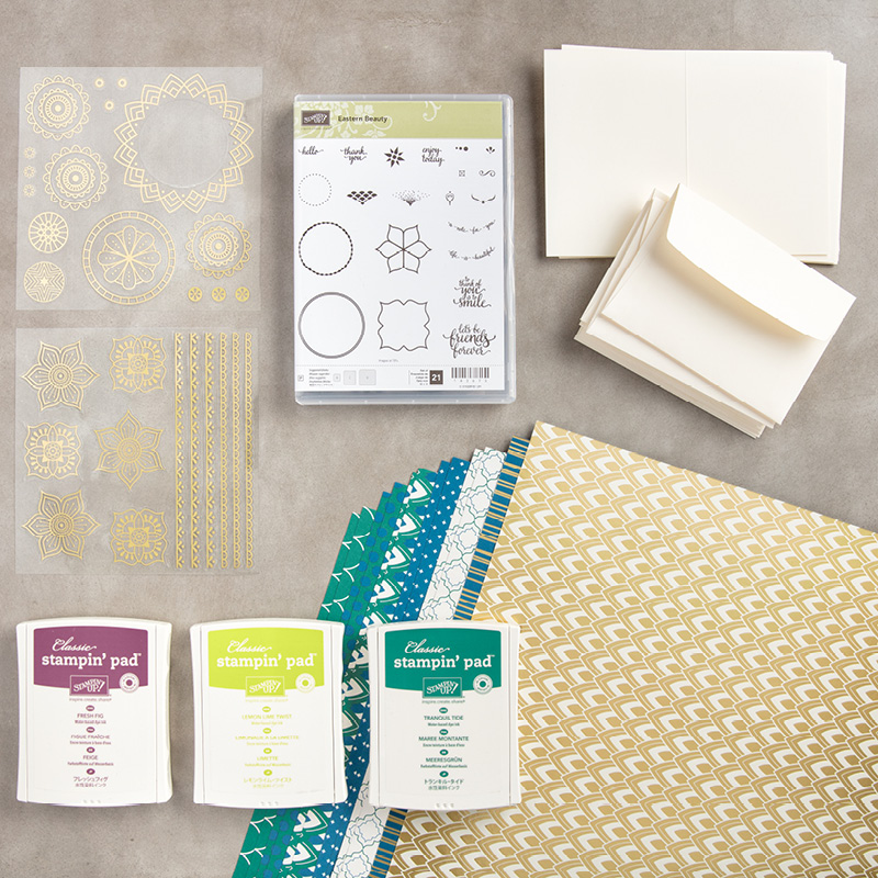 Eastern Palace Suite Starter Bundle 147196. Get it at https://www.stampinup.com/ecweb/default.aspx?dbwsdemoid=2059166 eastern medallions, eastern palace, foil stickers, incolors, stampin up, saralevin, theartfulinker, cards, cardmaking, handmade,rubberstamps