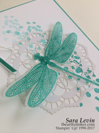 Monotone Dragonfly Dreams clean and simple card - detail - from theartfulinker.com