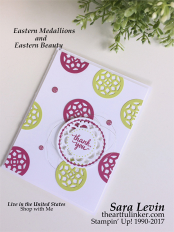 Eastern Medallions and Eastern Beauty card using new In Colors - Berry Burst and Lemon Lime Twist. Click the photo to see more of Sara's designs. handmade card, cardmaking, rubberstamps, stampinup, sara levin, theartfulinker