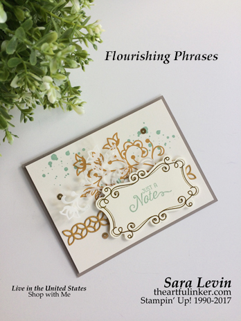 Flourishing Phrases card using In Colors for GDP085. Click the picture for more of Sara's designs. Handmade card, cardmaking, rubberstamps, stampinup, saralevin, theartfulinker