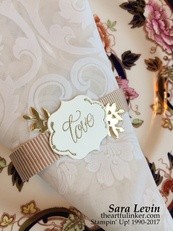Sara Levin | theartfulinker.com Click the picture to see more of Sara's Designs. Lovely Friends, Lovely Laurel 50th Anniversary table decor, napkin ring- detail, wedding.. Clean and simple. Handmade cards, rubberstamps, cardmaking, stampinup, stamping, saralevin, theartfulinker