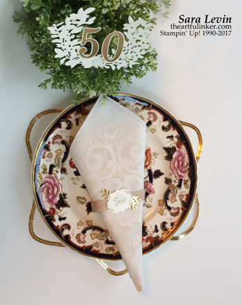 Sara Levin | theartfulinker.com Click the picture to see more of Sara's Designs. Lovely Friends, Lovely Laurel 50th Anniversary table decor, napkin ring, wedding.. Clean and simple. Handmade cards, rubberstamps, cardmaking, stampinup, stamping, saralevin, theartfulinker